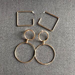 BAUBLEBAR Set of 2 Gold Hoop Earrings